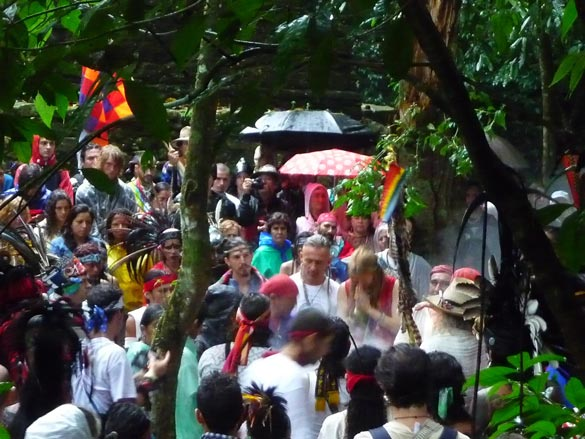 [Photo of the ceremony for the Closing of the Cycle - in the jungle, in the rain]