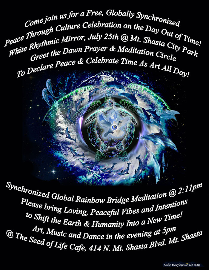 [Event Flier: Day Time Celebration at Mt. Shasta City Park - Evening Music at 5pm at The Seed of Life Cafe, 414 N Mt Shasta Blvd]