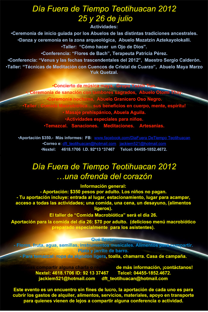[Event info - contact dft_teotihuacan@hotmail.com - jackiem521@hotmail.com]