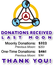Donations Received Last Moon - Moonly Donations: $144 - One-Time Donations: $144